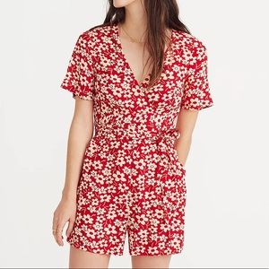 Madewell Wrap-Front Romper in Mini Daisy